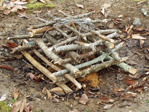 Campfire construction how to build a fire for Log cabin construction methods